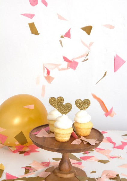 Gold Glitter Heart Cake Toppers (12 pack)