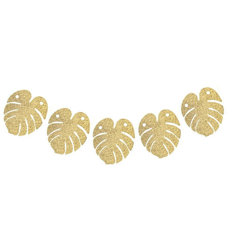 Gold Glitter Tropical Garland