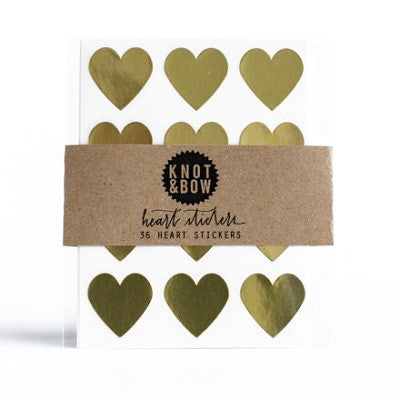 Gold Heart Stickers (36 pack)