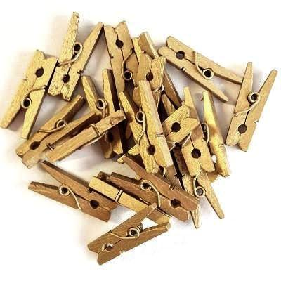 Gold Mini Wooden Pegs (20 pack)