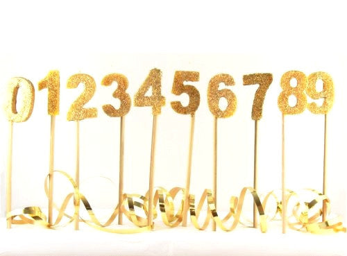 Gold Glitter Number Candle (0-9)