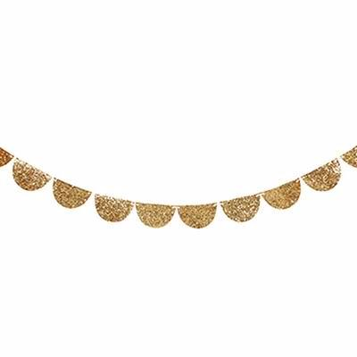 Gold Glitter Scallop Garland
