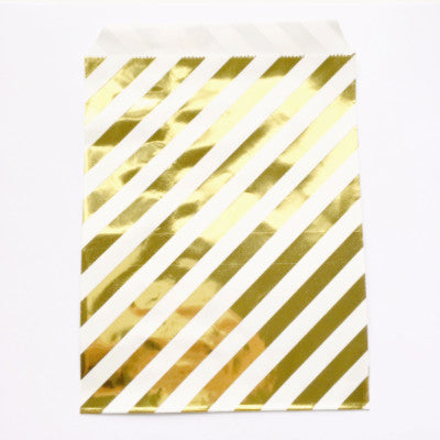 Gold Striped Party Bags (10 pack)