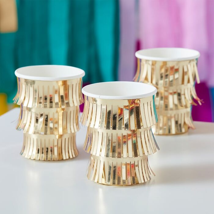 Gold Fringe Cups (8 pack)