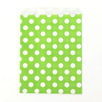 Lime Green Dot Party Bags (10 pack)