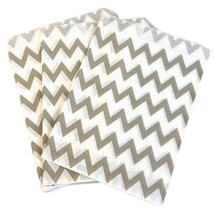 Grey Chevron Party Bags (10 pack)