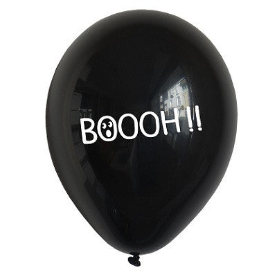 Black Boooh! Balloons (5 pack)
