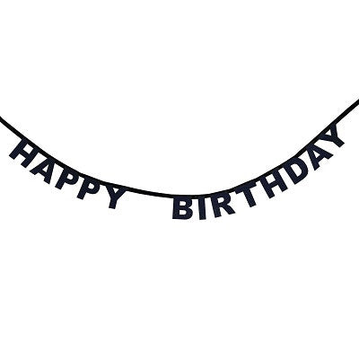 Black Glitter Happy Birthday Garland
