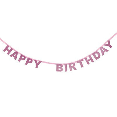 Pink Glitter Happy Birthday Garland