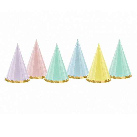 Pastel Party Hats (6 pack)