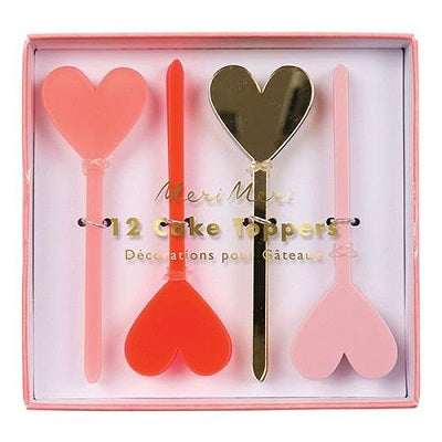 Pink & Gold Heart Cake Toppers (12 pack)