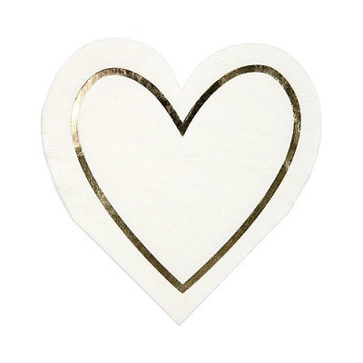 Gold Heart Cocktail Napkins (16 pack)