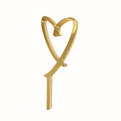 Heart of Love Gold Mirrored Cake Topper