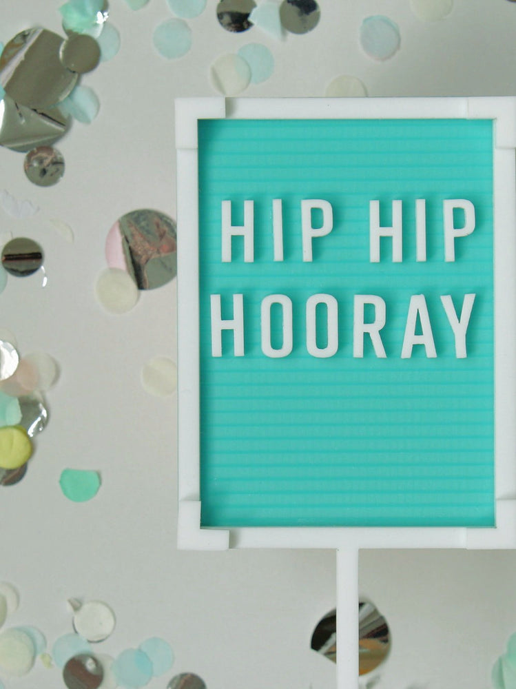Turquoise Hip Hip Hooray Letterboard Cake Topper