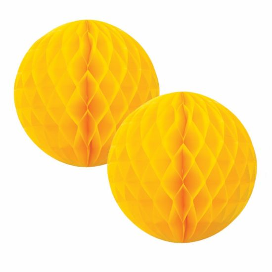 Yellow Honeycomb Balls 15cm (2 pack)