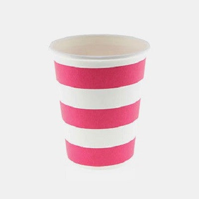 Hot Pink Striped Cups (12 pack)