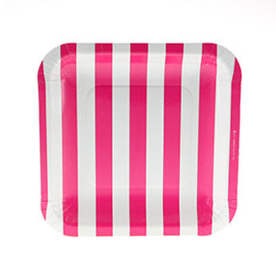 Hot Pink Striped Square Plates (12 pack)