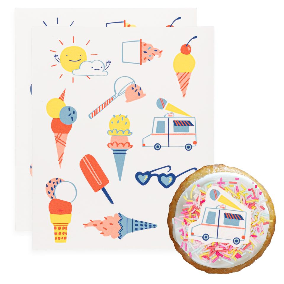 Ice Cream Social Stickies Edible Decorating Stickers (24 pack)