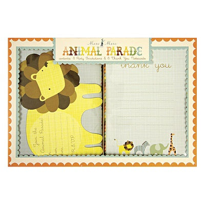 Animal Parade Party Invitations & Thankyou Cards (8 pack)