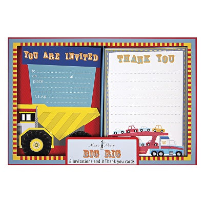 Meri Meri Big Rig Party Invitations & Thankyou Cards (8 pack)