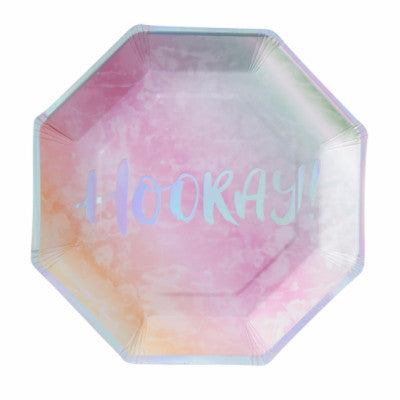 Iridescent Hooray! Plates (8 pack)