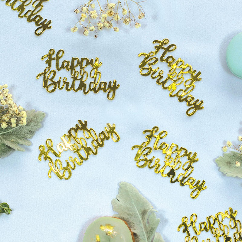 Gold 'Happy Birthday' Jumbo Confetti