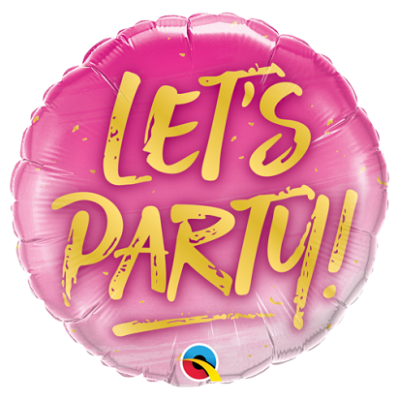 Pink Let's Party Foil Balloon