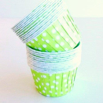 Lime Green Dot Baking Cups (25 pack)