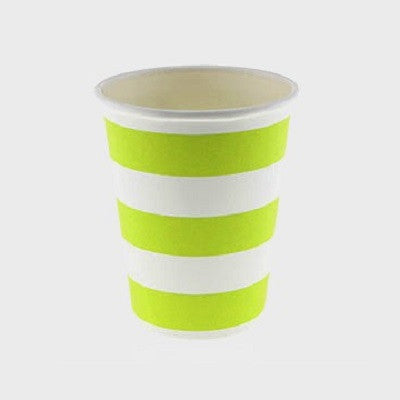 Lime Green Striped Cups (12 pack)