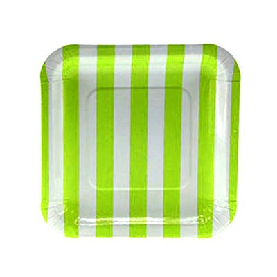 Lime Green Striped Square Plates (12 pack)