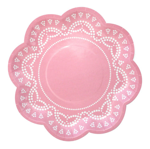 Pink Lovely Lace Plates (10 pack)