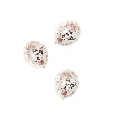 Mini Rose Gold Confetti Balloons (3 pack)