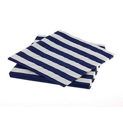 Navy Blue Striped Paper Napkins (20 pack)