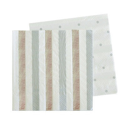 Silver Stripes & Dots Napkins (20 pack)