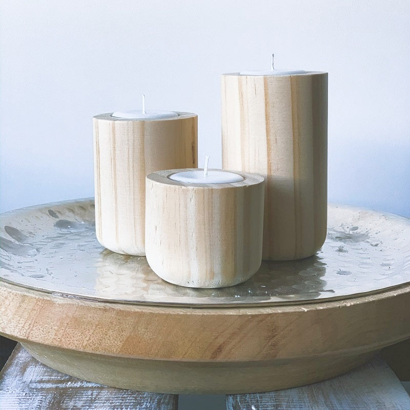 Natural Timber Tealight Holders (3 set)