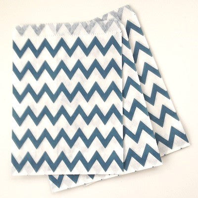 Navy Blue Chevron Party Bags (10 pack)
