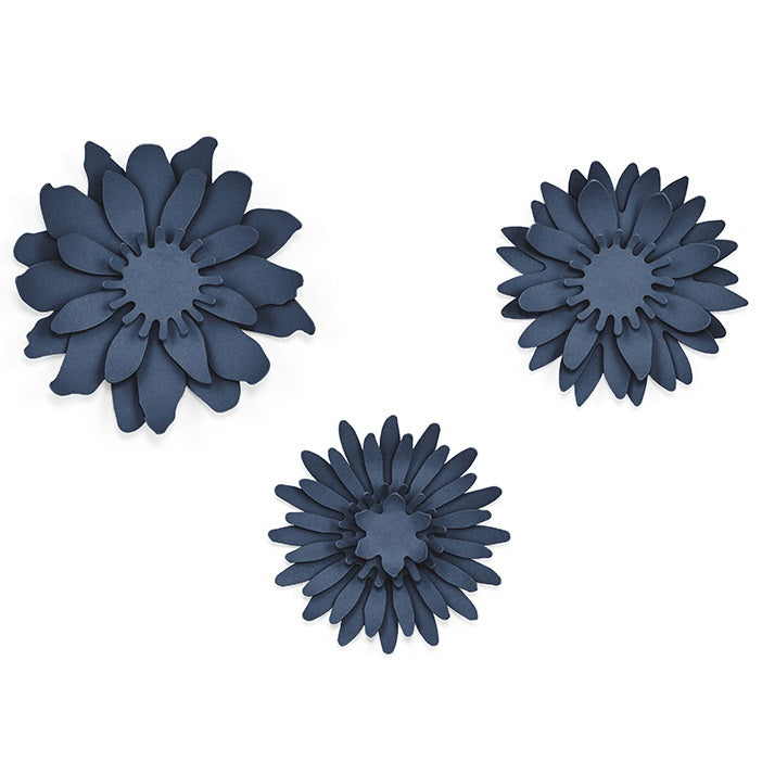 Navy Blue Flowers (3 sizes)