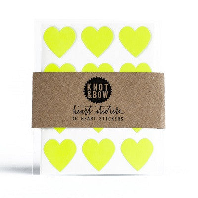 Neon Yellow Heart Sticker Seals (36 pack)