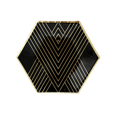 Noir Hexagon Dessert Plates (8 pack)