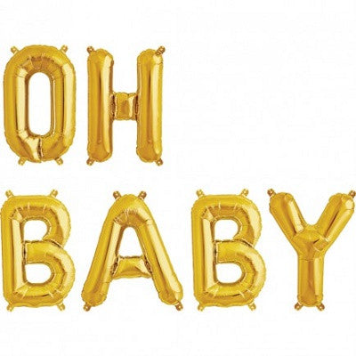 Gold 'OH BABY' Balloons