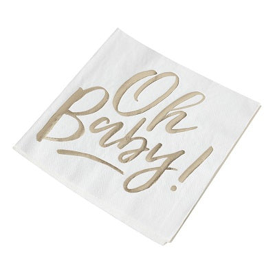 Gold Oh Baby Napkins (16 pack)