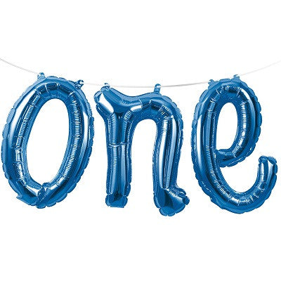 Blue 'ONE' Balloon Banner