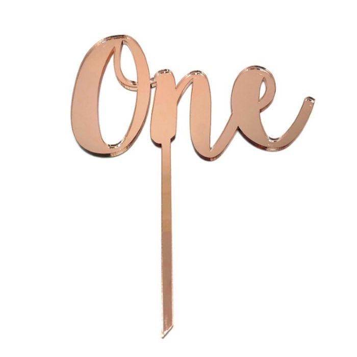 Rose Gold Mirrored One Cake Topper