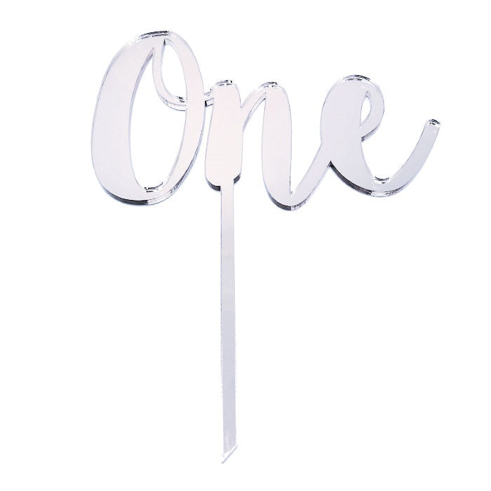 Silver Mirrored One Cake Topper