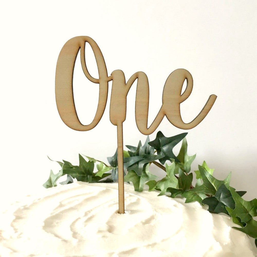 Wooden One Cake Topper