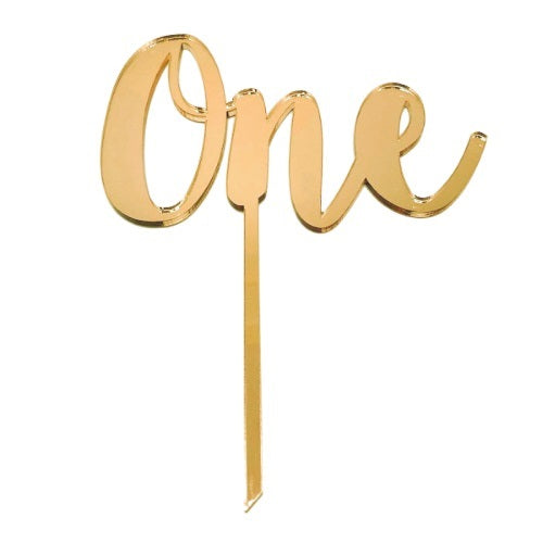Gold Mirrored One Cake Topper