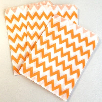Orange Chevron Party Bags (10 pack)
