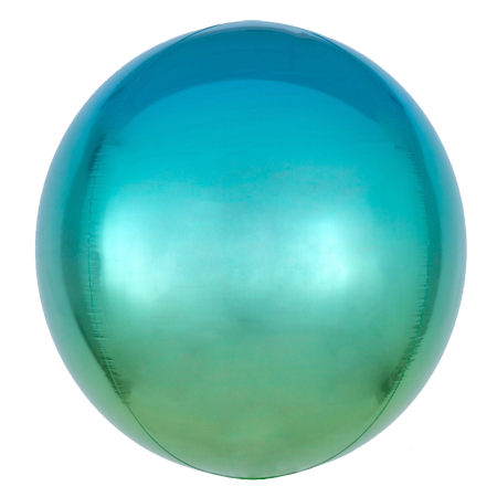 Ombre Blue Green Orbz Balloon
