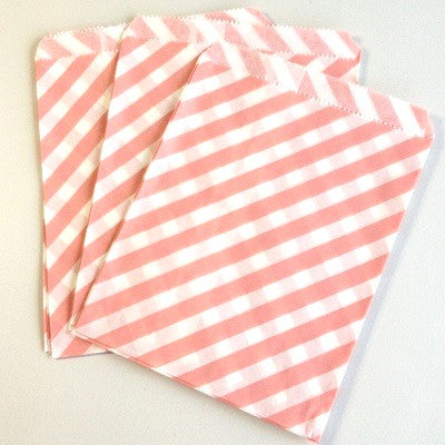 Pale Pink Striped Party Bags (10 pack)