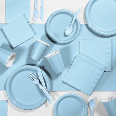 Pale Blue Plates (24 bulk pack)